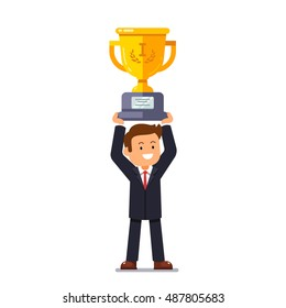 Business leader man standing and holding winner golden cup over head with his hands. Entrepreneur achievement concept. Flat style vector illustration.