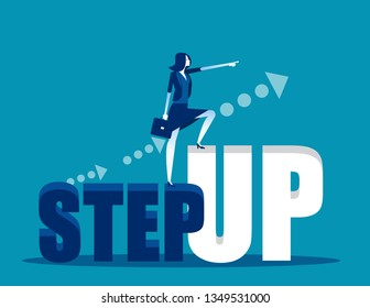 Business leader to step up on word aiming high. Concept business vector illustration, Growth, Leadership, Turnover.