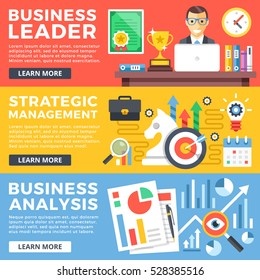 Business leader, strategic management, business analysis flat illustration concepts set. Flat design graphics for web sites, web banners, printed materials, infographics. Modern vector illustrations