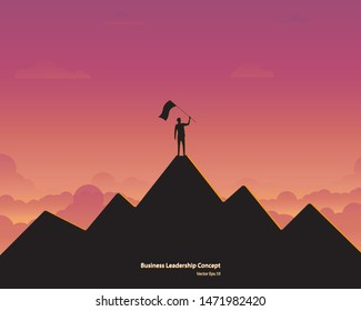 Business leader vector concept. Businessman planting flag on top of mountain. Symbol of success, Achievement, Career, Leadership, Silhouette sunset background. Vector illustration flat