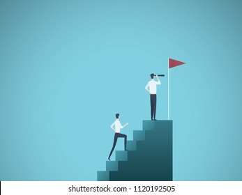 Business leader and visionary vector concept. Businessman and his follower on steps. Symbol of ambition, leadership, vision, motivation and achievement. Eps10 vector illustration.