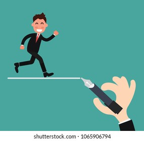 Business leadership concept - Businessman walking following on guide line