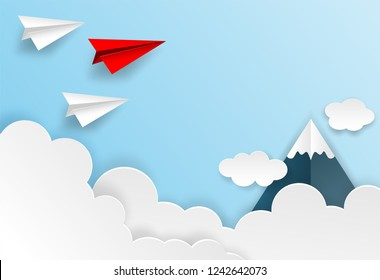 Business  leadership ,financial concept. Red paper plane leadership  to sky go to success goal. paper art style. creative idea. vector illustration.