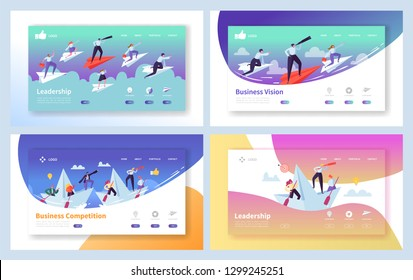 Business Leadership Growth Landing Page Set. Manager Team Challenge for Finance Profit. People Character Reaching Forward Direction Metaphor Concept for Website Flat Cartoon Vector Illustration