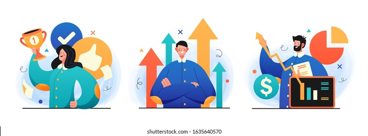 Business Leadership illustrations. Concept Illustration of a different leaders reachig their goals. Perfect for web design, banner, mobile app, landing page. Vector