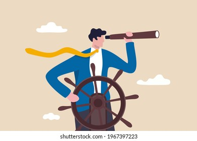 Business leadership and visionary to lead company success, career direction or work achievement concept, smart businessman boat captain control steering wheel helm with telescope vision.