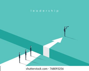 Business leadership and visionary vector conept with businessman looking with telescope. Business challenge, future symbol. Eps10 vector illustration.