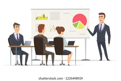 Business lesson. Teacher Manager learning on lecture office presentation concept marketing plan on whiteboard vector meeting peoples