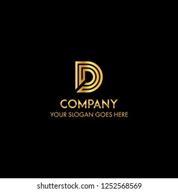 business letter D logo concept with gold color