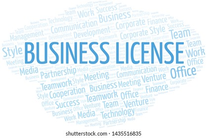 Business License word cloud. Collage made with text only.