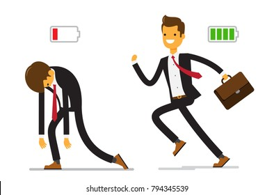 Business and life energy. Businessman with low battery red color and Businessman with high full level energy battery green. Vector illustration of a flat design.