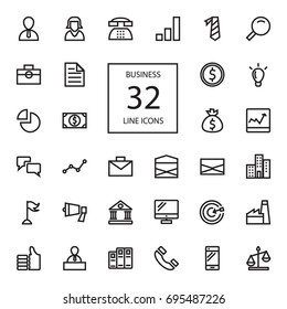 Business line 32 icons. 32 Pixel Perfect Grid