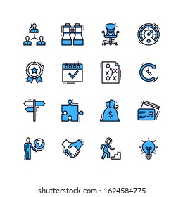 Business Line Blue Icons - Set 1. Set of business icons, great for presentations, web design or any type of design projects.