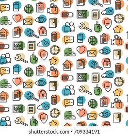 Business line icons finance money bank seamless vector pattern