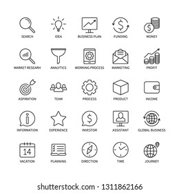 Business line icons money commerce analysis bank contact social media technology logistics search idea income marketing time team investor vector symbols set