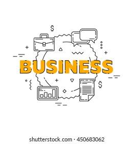 Business line illustration. Line flat design for website. White modern banner.