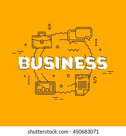 Business line illustration. Line flat design for website. Yellow modern banner.