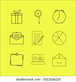 Business linear icon set. Simple outline icons