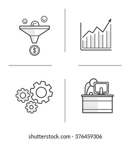 Business linear icons set. Sales funnel and growth chart icons. Cog wheels and office worker. Business and teamwork thin line illustrations. Web business and marketing. Vector isolated outline drawing