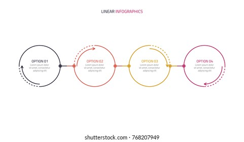 Business linear infographic design with circles.Timeline for workflow, diagram, presentation, four options