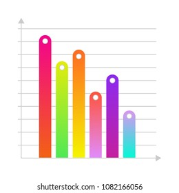 Business linear vertical histogram, bar chart with colored bars. Presentations, marketing and research infographics object for brochure, financial poster layout template design. Vector illustration