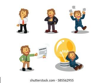 business lion cartoon set