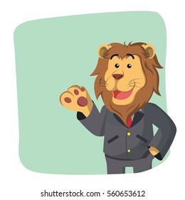 business lion in green background