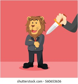 business lion with hand with knife