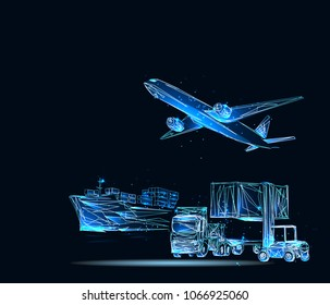 Business logistics concept, internet of things. Low poly vector illustration.