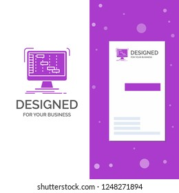 Business Logo for Ableton, application, daw, digital, sequencer. Vertical Purple Business / Visiting Card template. Creative background vector illustration