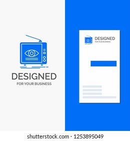 Business Logo for Ad, broadcast, marketing, television, tv. Vertical Blue Business / Visiting Card template.