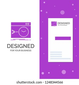 Business Logo for Admin, command, root, software, terminal. Vertical Purple Business / Visiting Card template. Creative background vector illustration