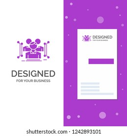 Business Logo for Anthropometry, body, data, human, public. Vertical Purple Business / Visiting Card template. Creative background vector illustration