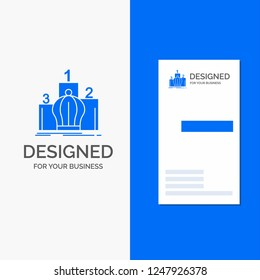 Business Logo for Crown, king, leadership, monarchy, royal. Vertical Blue Business / Visiting Card template.