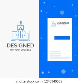 Business Logo for Crown, king, leadership, monarchy, royal. Vertical Blue Business / Visiting Card template