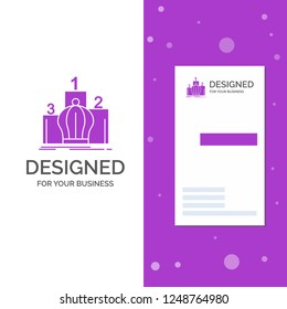 Business Logo for Crown, king, leadership, monarchy, royal. Vertical Purple Business / Visiting Card template. Creative background vector illustration