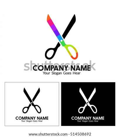 Business Logo Design Craft Style Scissors Stock Vector Royalty Free