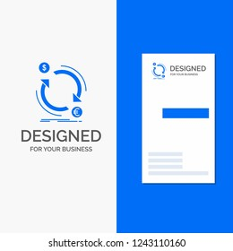 Business Logo for exchange, currency, finance, money, convert. Vertical Blue Business / Visiting Card template.