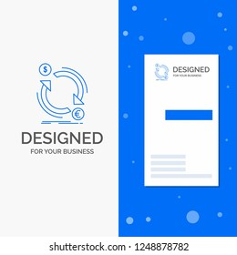 Business Logo for exchange, currency, finance, money, convert. Vertical Blue Business / Visiting Card template