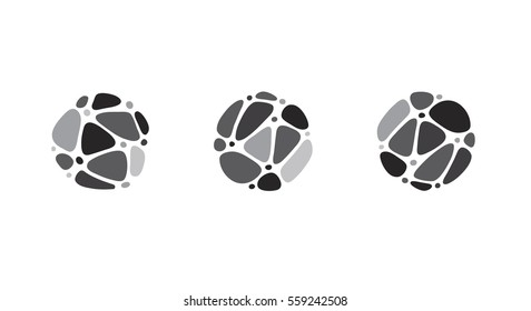 Business logo idea made of linked pebbles in a circle. Irregular shapes arranged in a pattern. Gray black and white icon set for logo or buttons.