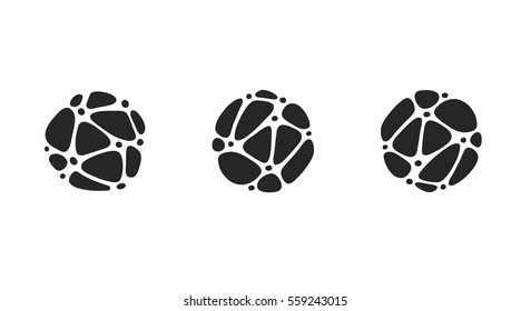 Business logo idea made of linked pebbles in a circle. Irregular shapes arranged in a pattern. Black and white icon set for logo or buttons.