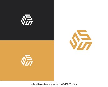 Business logo letter S line vector. SSS initials, icon design template. Corporate, identity, company, brand, branding, logotype Clean modern and elegant style