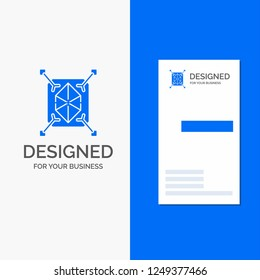 Business Logo for Object, prototyping, rapid, structure, 3d. Vertical Blue Business / Visiting Card template.
