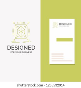 Business Logo for Object, prototyping, rapid, structure, 3d. Vertical Green Business / Visiting Card template. Creative background vector illustration