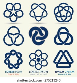 Business logo set, blue knot symbol, curve looped icon - vector illustration
