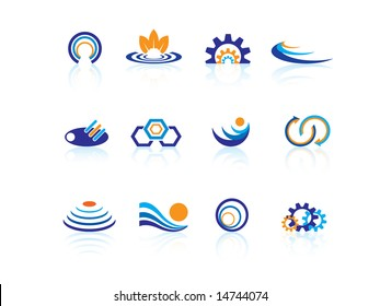 Business logo set with shadows