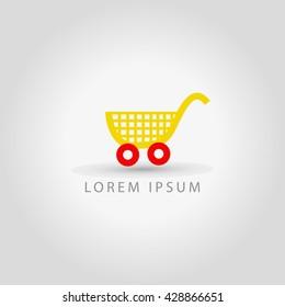 business logo shopping cart vector sign