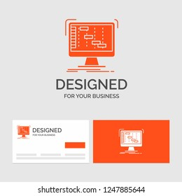 Business logo template for Ableton, application, daw, digital, sequencer. Orange Visiting Cards with Brand logo template.