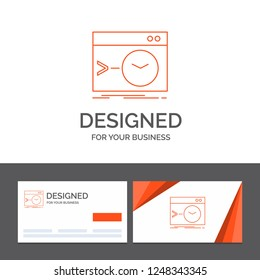 Business logo template for Admin, command, root, software, terminal. Orange Visiting Cards with Brand logo template