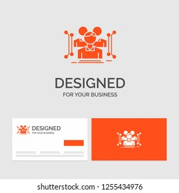 Business logo template for Anthropometry, body, data, human, public. Orange Visiting Cards with Brand logo template.